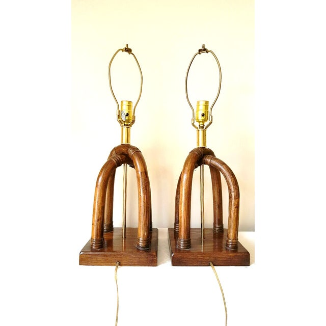 Palm Beach Regency Brass and Rattan Lamps - Pair - Image 6 of 7
