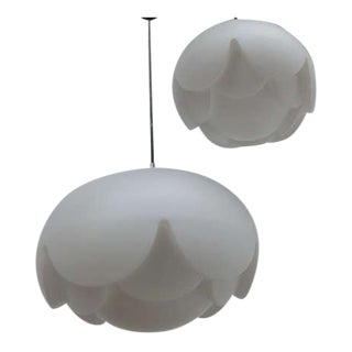 Peill & Putzler Floral Shaped White Opaline Hanging Lamps, Germany 1970s