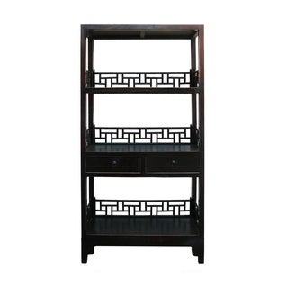 Rustic Black & Brown Lacquer Bookshelf