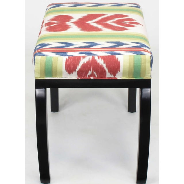 Image of Pair of Interior Crafts Black Lacquer and Ikat Benches