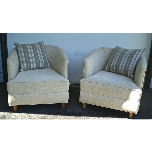 Barrel Club Chairs w/ French Fabric Pillows - Pair - Image 2 of 5