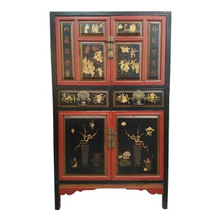 Chinese Lacquer Cupboard, Red and Gilt Decoration.