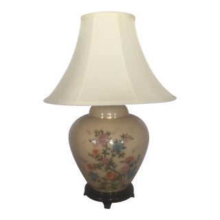 Chinoiserie Painted Glass Ginger Jar Table Lamp