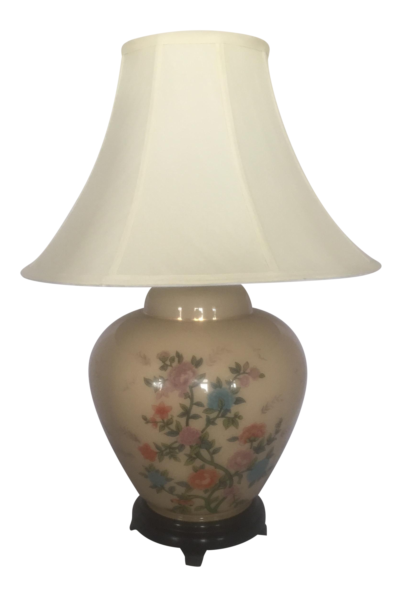 Chinoiserie Painted Glass Ginger Jar Table Lamp   Image 1 Of 8