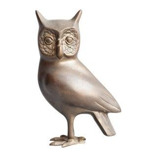 Large Vintage Brass Owl