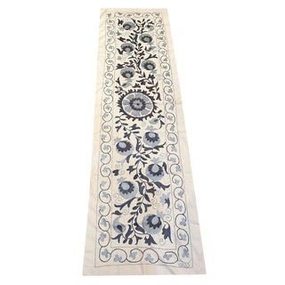 "Blue Suzani Table Runner / Vintage Bed Runner - 5'9"" x 1'7"""