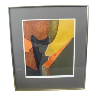Vintage Abstract Silkscreen by Em Duffy, Sunday 1968