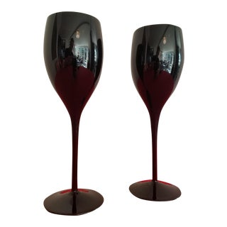 Black Glass Champagne Glasses - A Pair