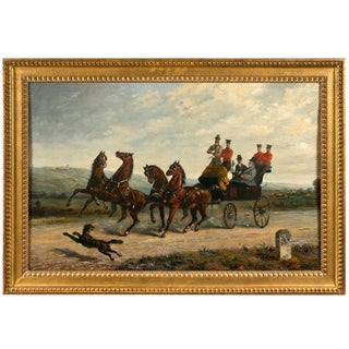 19th Century Oil on Canvas of Gentlemen on a Horse