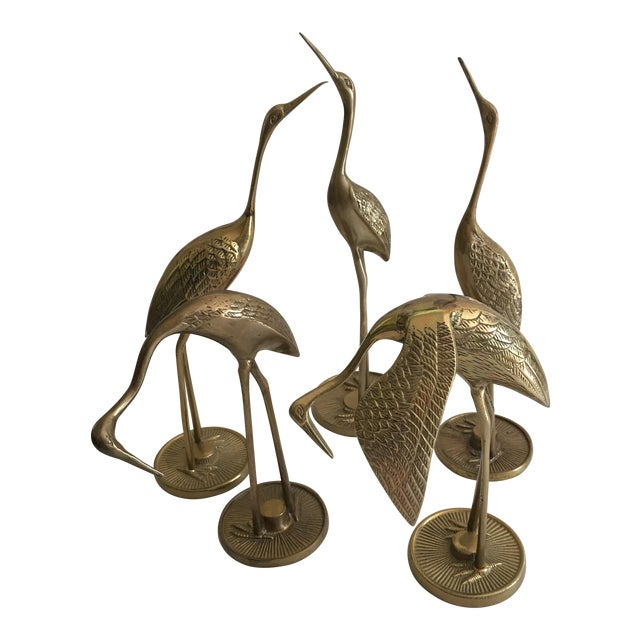 Vintage Mid-Century Brass Cranes - Set of 5 - Image 1 of 4