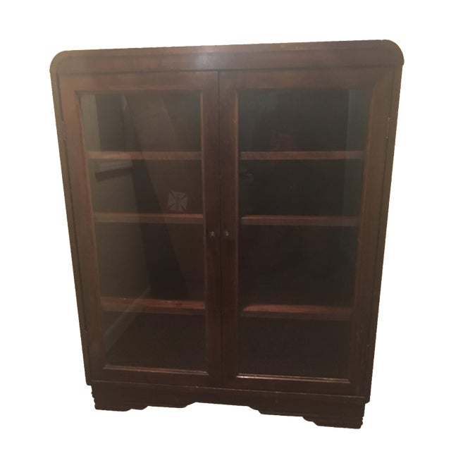 Waterfall edged bookcase cabinet on deco base chairish for Bookcase with cabinet base plans