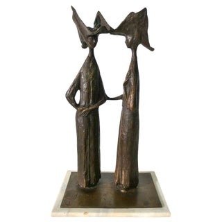 "Hugo Daini Bronze ""Nuns"" Sculpture"