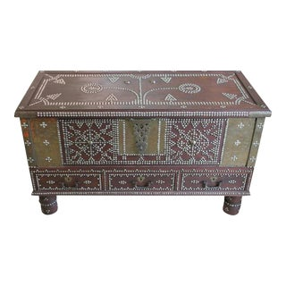 Zanzibar Arab Wooden and Brass Studded Trunk Coffee Cocktail Table