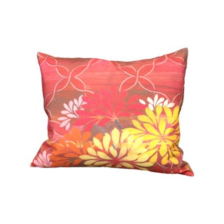 Pink Lattice Floral Linen Pillow