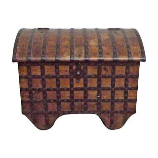 Antique 19th Century Iron and Wood Storage Trunk