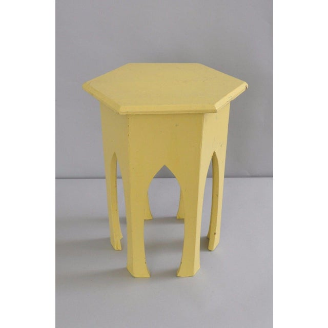 Primitive Rustic Moorish Style Yellow Painted Arched Accent Side Table - Image 3 of 11
