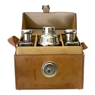 German Flask & Shaker Set Leather Case