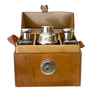 German Flask & Shaker Set Leather Case