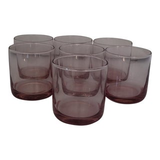 Mid Century Purple Bar Glasses - Set of 7