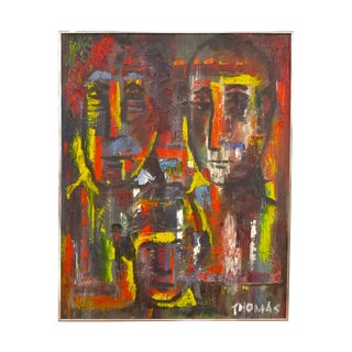 Vintage Modern Abstract Painting of Three Faces