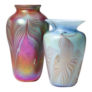 Pulled Feather Art Glass Vases- Set of 2