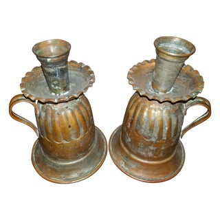 Primitive Copper Repousse Candle Holders - A Pair