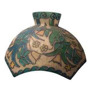 Mid-Century Modern Floral Leaded Fiberglass Shade