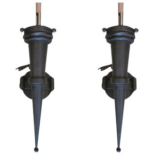 Four Pairs of Torch Sconces in the Style of Gilbert Poillerat