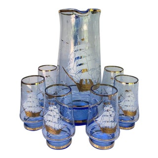 Mid-Century Bohemian Blue Glass Ship Motif Pitcher & Tumblers - Set of 7
