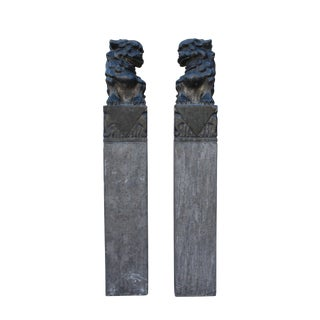 Chinese Pair Black Gray Stone Fengshui Foo Dogs Tall Slim Pole Statue