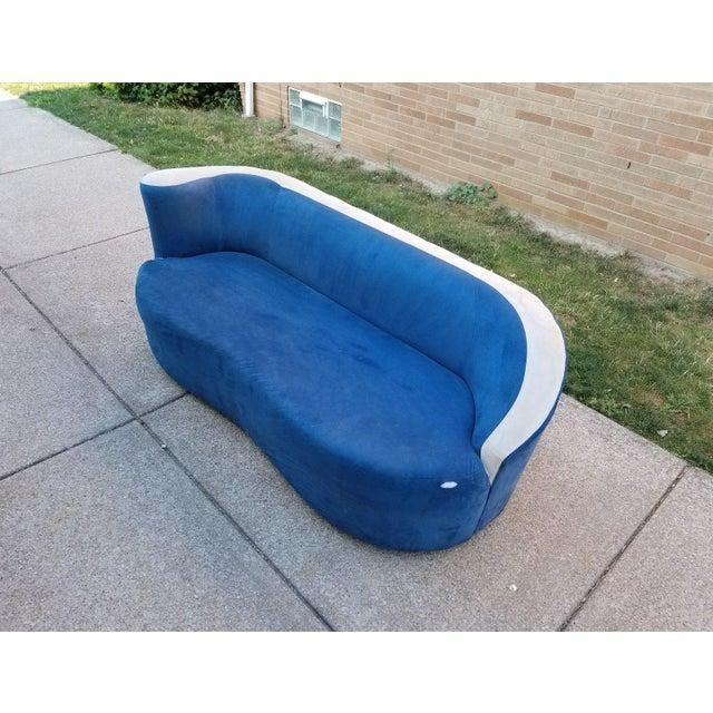 Vladimir Kagan for Directional Nautilus Sofa in Blue Velvet - Image 10 of 11