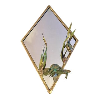Diamond Shaped Brutalist Copper Koi Mirror, Signed