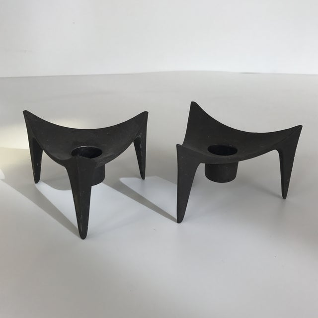 Image of Norway Modernist Cast Iron Candle Holders - A Pair