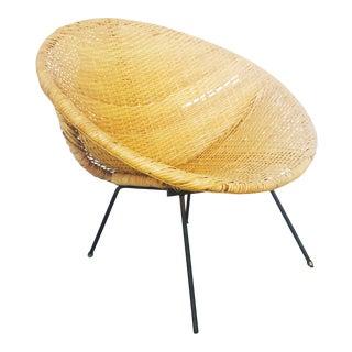 Mid Century Rattan Hoop Chair