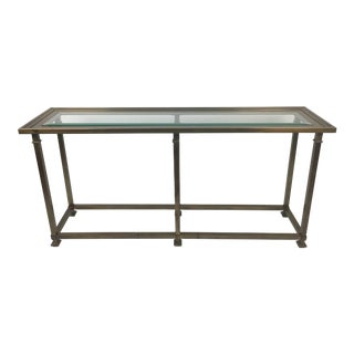 Mid-Century Brass & Glass Console Sofa Table