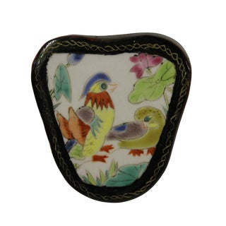 Chinese Porcelain & Wood Birds Jewelry Box