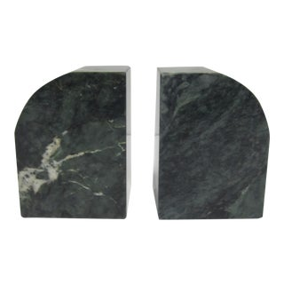 Vintage Modern Dark Green Marble Bookends - A Pair
