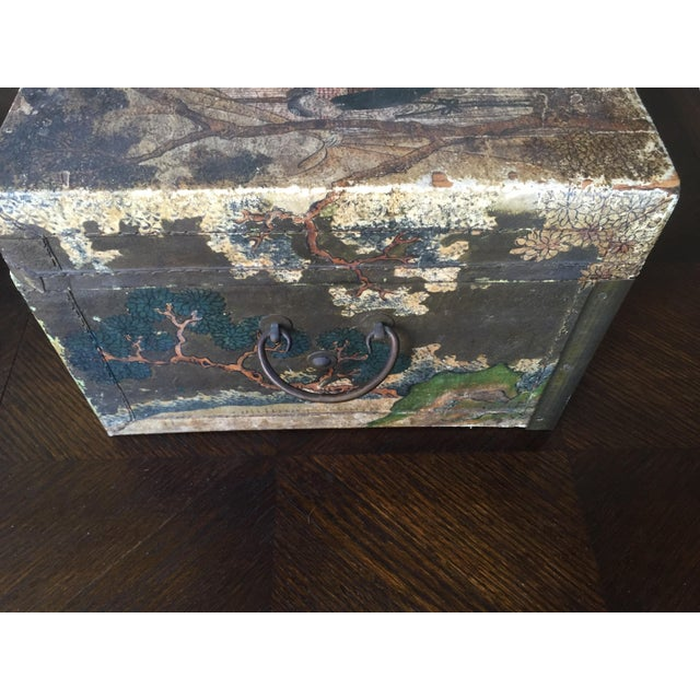 19th-C. Chinese Pigskin Travel Trunk - Image 7 of 11