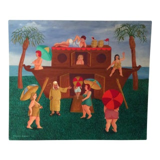 """Noah's Ark"" Modern Contemporary Folk Art Painting by Ed Romero"