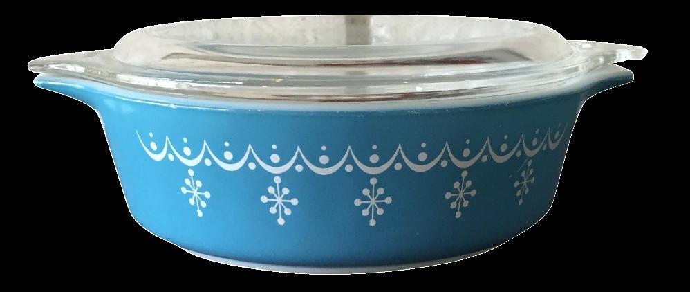 pyrex blue snowflake casserole dish chairish