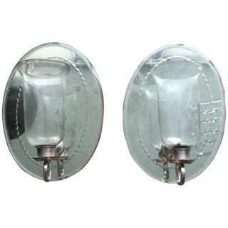 Mirrored Candle Holder Sconces - A Pair