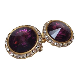 Purple Rivoli Stone Earrings