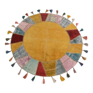 "Turkish Handmade Patchwork Round Area Rug - 5'2"" x 5'2"""