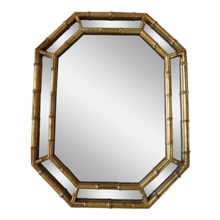 Vintage 1976 Octagonal Gilded Faux Bamboo Mirror