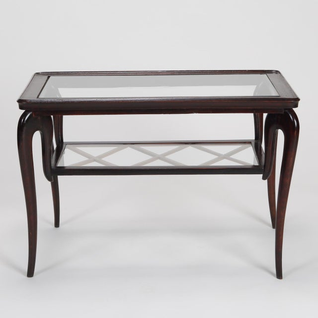Antique Art Deco Tiered Walnut Glass Side Table - Image 11 of 11
