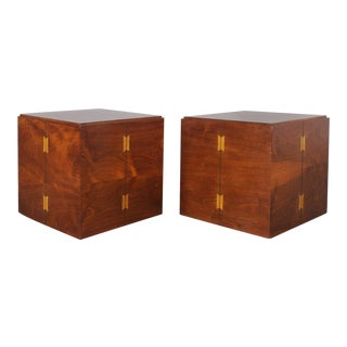 Lane Rolling Cube Side Tables - A Pair