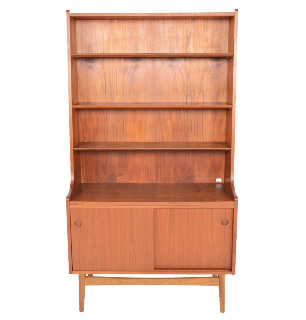 Danish Modern Tall Teak Bookcase