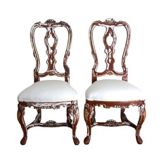 Vintage Italian Carved Wood Accent Chairs - Pair