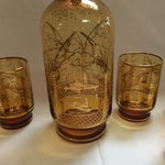 Image of Italian Decanter and Matching Tall Glasses - S/7