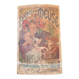 """Original Alphonse Mucha-Bieres De La Meuse Poster Food Art Print - 2'10"""" X 4'6"""""""